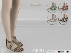 New flat sandals for your sim! Come in 5 colours (patent leather texture). Joints are perfectly assigned. All LODs are replaced with new ones.  Found in TSR Category 'Sims 4 Shoes Female'