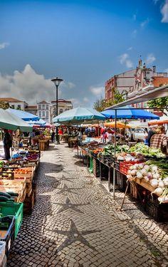 Fruit and flower market, held every morning in Caldas da Rainha, Leiria, Central Portugal. Douro Portugal, Visit Portugal, Portugal Travel, Spain And Portugal, Algarve, Saint Marin, Travel Around The World, Around The Worlds, Places To Travel