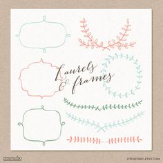 Laurel and Frames Digital cliparts for branding and scrapbooking