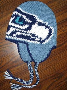 seahawks crochet | Crochet / I must make this! Crochet Seahawks earflap hat.