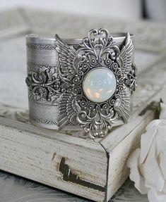GOD'S CHERUBIM Victorian vintage inspired angel cuff bracelet in antiqued silver with bonus matching earrings