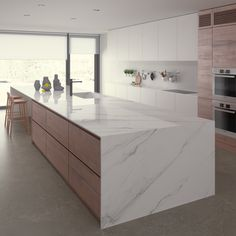 Ceralsio Calacatta Gris Polished worktop inspired by the trend for classic marble, with a subtle grey veined pattern on a pure white background. Available in a natural or polished finish.
