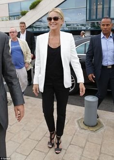 Timeless: Sharon Stone, 56, looked a picture of health as she arrived to spend time on Roberto Cavalli's yacht in Cannes on Monday.