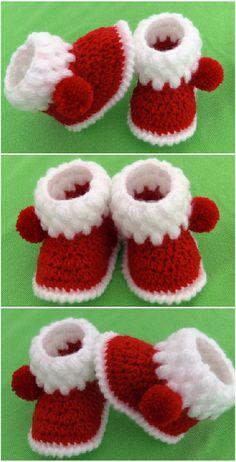 Crochet Easy Baby Booties for Christmas - Crochet Ideas - . Crochet Easy Baby Booties for Christmas – Crochet Ideas – Booties Crochet, Crochet Baby Shoes, Crochet Baby Clothes, Crochet Slippers, Baby Booties, Baby Sandals, Crochet Simple, Free Crochet, Knit Crochet