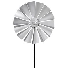Viento Stainless Steel Windmill Style Pinwheel - The windmill design of the Viento Stainless Steel Windmill Style Pinwheel resembles a coneflower with multiple petals. Each of the 14 wheels is slight...
