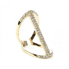 Linear Crystal Ring  - Gold