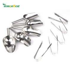 "5pcs Ice Tong Clip (6"") & 5pcs Ice Scoop (8"") Set Stainless Steel Kitchen Cocktail Tools for Ice Bucket Wedding Restaurant Bar B"