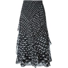 Peter Pilotto Floral Print Tiered Skirt (5,325 AED) ❤ liked on Polyvore featuring skirts, black, high waisted skirts, long silk skirt, high waisted long skirt, high-waisted maxi skirt and floral skirt