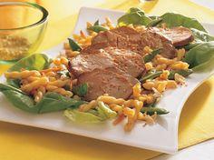 An Oriental-style salad showcases tender pasta, crisp vegetables and teriyaki-flavored pork tenderloin.