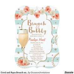 Coral and Aqua Brunch and Bubbly Bridal Shower Card Pretty floral, modern vintage, glam brunch and bubbly bridal shower invitations with a faux glitter look confetti background on an aqua blue and white striped pattern. A garland of blush, coral and cream colored roses adorn the top of the invite and an inviting glass of bubbly champagne with pearls entwining its base complete this ultra girly and chic design. Pale coral and white polka dot heart pattern on the back. Please, note, no 3D…