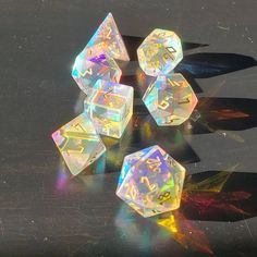 Fantastic Glass Gemstone DnD Dice Set Engrave Font A Gold Ink Crescent Moon Version Cool Dnd Dice, Dungeons And Dragons Dice, Dragon Dies, Glass Gemstone, Geek Out, Dnd Characters, Gold Ink, Resin Crafts, Goblin