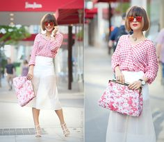 stella mccartney flower print clutch, stella mccartney clutch outfit, culottes outfit, gingham shirt outfit, galant girl, street style fashion, outfit for spring 2015,