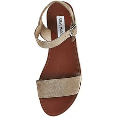 Steve Madden Women's Donddi Sandals ($50) ❤ liked on Polyvore featuring shoes, sandals, flats, taupe sde, steve madden flats, ankle strap sandals, wide flats, taupe flats and ankle tie sandals