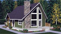 Contemporary Elevation of Plan 99914
