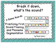 These games are great for your small RTI groups, centers or for practicing First Sound Fluency and Phoneme Segmentation skills before you administer the DIBELS test!  The best part is all you need is the game board, markers and a die! Easy prep = a happy teacher. :)