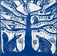 linocut/Tree of Life/blue/original art/printmaking/fox/hare/tree/squirrel/bird/apples/home interior/printmaking/original art/sunrise/forest Buy Prints, Prints For Sale, Sgraffito, Art Plastique, Illustrations, Squirrel, Printmaking, Folk Art, Original Art