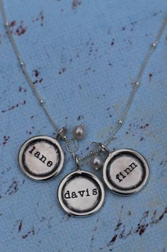 Rimmed discs with children's names, freshwater pearls accents Kid Names, Hand Stamped, First Love, Pendant Necklace, Pearls, Shop, Gold, Jewelry, Jewlery