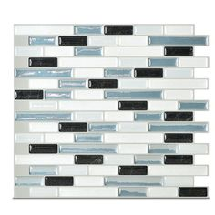 "Smart Tiles Muretto Brinna 9.1"" x 10.2"" Peel & Stick Mosaic Tile in White & Pale Blue & Reviews 