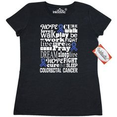 Inktastic Colorectal Cancer Awareness Colon Cancer Women's T-Shirt Ribbon Blue Support Walk Month Event Product Clothing March Brown Apparel Tees Adult Hws, Size: Medium, Black