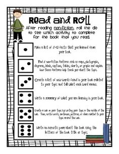 """""""Read and Roll"""" - Reading Response Activities for Fiction and Non-Fiction  Great idea.  I might rewrite to create different prompts to match Core Standards and I teach them."""