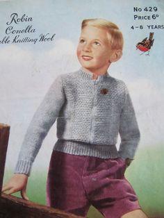 Vintage Lumber Jacket Pattern by Robin Size by lovevintagecrafts #knitting #babyknittingpatterns #vintageknitting