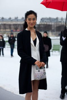 Paris Street Style Layered Colors and Patterns - 2013 Haute Couture Parisian Street Style - Harper's BAZAAR