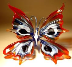 "Blown Glass ""Murano"" Art Figurine Insect Red, Blue and White BUTTERFLY picclick.com"