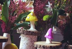 Little mushrooms from clay (play dough) on wooden logs on food table