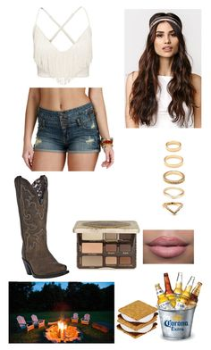 """""""Bonfire with bae"""" by jamzm ❤ liked on Polyvore featuring Dan Post, With Love From CA, Too Faced Cosmetics and Forever 21"""
