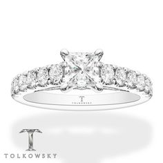 This radiant engagement ring from Tolkowsky® features a Princess Ideal Cut Diamond at the center, with sparkling round diamonds along the band, for a total diamond weight of 1 carats. The ring is styled in white gold. Silver Stacking Rings, White Gold Rings, Silver Rings, Ideal Cut Diamond, Diamond Cuts, Radiant Engagement Rings, Delicate Rings, Fashion Rings, Fine Jewelry
