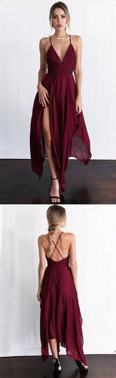 Custom Made Burgundy Prom Dress,Spaghetti Straps Evening Dress,Chiffon Party Dress
