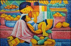 Philippines ~ Pelayo Lopez ~ Mother and Child Filipino Art, Filipino Tribal, Beautiful Drawings, Beautiful Paintings, Philippine Art, Naive Art, Mothers Love, Mother And Child, Tribal Art