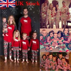 c94216790a XMAS Kids Baby Adult Family Pajamas Set Deer Sleepwear Nightwear Pyjamas  Gift
