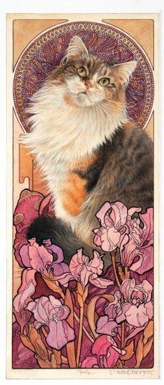 "Art Nouveau Kitty * Lesley Anne Ivory - ""Agneatha - L'Améthyste, in Alphonse Mucha jewel panel"", 2000"