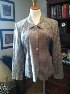 Vintage Unconstructed Light Green Muted Plaid Linen by pdee5069, $8.05