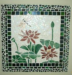 Dragon fly & lotus flowers - stained glass mosaic