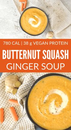 butternut squash soup Delicious and healthy butternut squash ginger soup that is easy to prepare, vegan, oil free, and gluten free. One serving contains 370 calories is budget fri High Protein Vegan Recipes, Vegan Dinner Recipes, Vegan Breakfast Recipes, Vegan Dinners, Soup Recipes, Healthy Recipes, Vegetarian Recipes, Recipies, Butternut Squash Ginger Soup