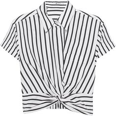 T BY ALEXANDER WANG Twist Front Crop Stripe // Cropped short sleeve... (4.277.740 IDR) ❤ liked on Polyvore featuring tops, blouses, shirts, crop top, white collared blouse, short-sleeve blouse, white striped shirt, collared shirt and striped shirt