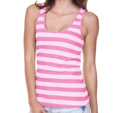 Kavio Juniors Striped Jersey Racer Back Tank-Striped White / Pink Flash