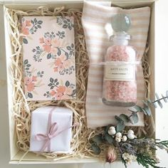 Pampering gift box for bridesmaid or new mom. Rifle Paper. Bath Salts, Sugarfina. Loved and Found.