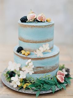 Semi Naked Cake with fresh flowers, berries and figs ~ we ❤ this! moncheribridals.com