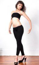 Black Dance & Yoga Low Rise Shadow Stripe Tights & Stretch Knit Bare Belly Rib Length Tube Top by KD Dance, From the Makers of the Finest Knit Dancewear In The World, Fashionably Unique & Sophisticated, Sexy Warm & Cozy, Made in New York City USA