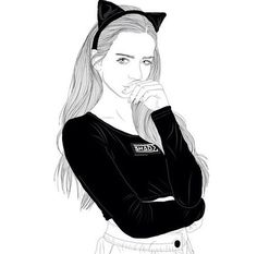 girl with cat ears art - girl with cat drawing Tumblr Girl Drawing, Tumblr Sketches, Tumblr Drawings, Tumblr Hipster, B&w Tumblr, Tumblr Outline, Outline Art, Outline Drawings, Amazing Drawings