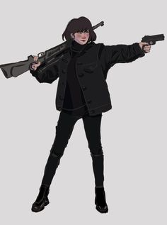 """skully on is part of drawings - hi i made this sniper something yoonji after a reference cause i can't do bodies Yoonji btsfanart"""" Female Character Design, Character Design Inspiration, Character Concept, Character Art, Drawing Reference Poses, Drawing Poses, Bts Girl, Min Yoonji, Aesthetic Art"""