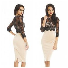 Black lace cover up over a tan strapless fitted dress