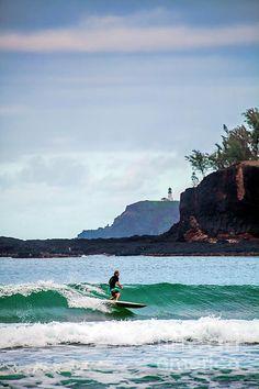 Surfer and Kilauea Lighthouse by Daryl L Hunter Hawaii Landscape, Kilauea Lighthouse, Kauai, Waves, Mountains, Wall Art, Beach, Outdoor, Outdoors