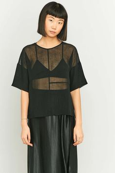 Light Before Dark Black Chiffon Panel T-shirt