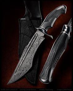 Sam Lurquin Furious Maximus Bowie Knife. Damascus blade, handle carved by Serge Raoux. Sheath by Paul Long. Picture by Caleb Royer. Utterly perfect in every way.