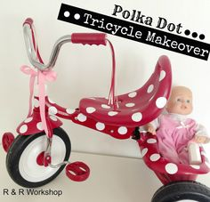 Polka Dot Tricycle with vinyl!! | R & R Workshop www.randrworkshop.blogspot.com