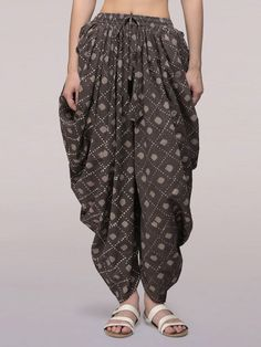 Grey Dabu Printed Cotton Dhoti Pants